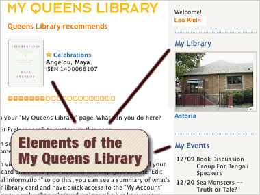 Elements of the 'My Queens Library'
