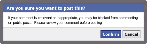 If your comment is irrelevant or inappropriate, you may be blocked from commenting on public posts.  Please review your comment before posting.